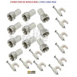 Kit Conector Rosca P/ Cabo Rg 6 + Fixa Cabo